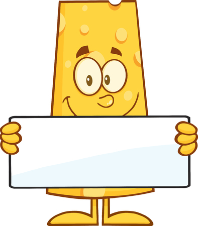 cheese cartoon: Cheese Cartoon Character Holding A Banner. Illustration Isolated On White