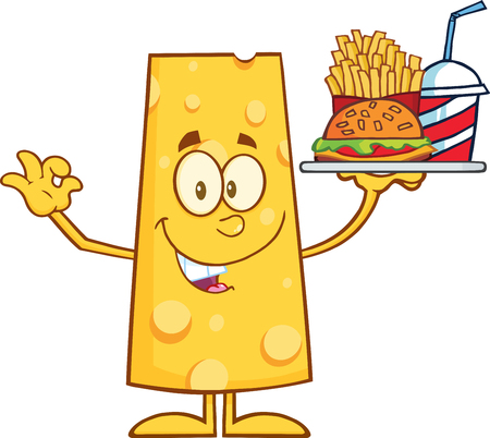cheese cartoon: Smiling Cheese Cartoon Character Holding A Hamburger With Drink And French Fries.  Illustration Isolated On White