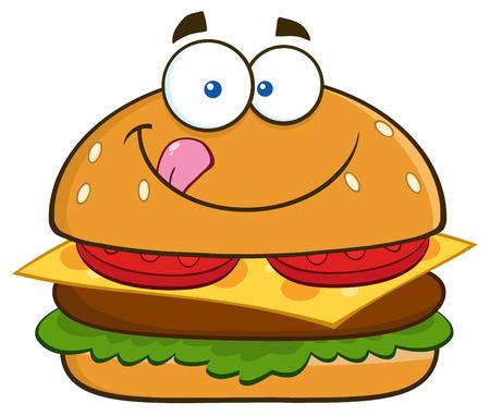 Hongerige Hamburger stripfiguur zijn lippen likken. Illustratie geïsoleerd op wit