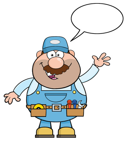 Smiling Mechanic Cartoon Character Waving For Greeting. Illustration With Speech Bubble