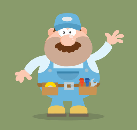 handy: Mechanic Cartoon Character Waving For Greeting Flat Style. Illustration With Background
