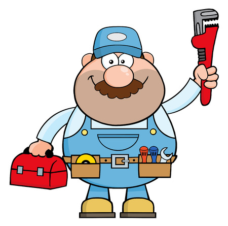 Handyman Cartoon Character With Wrench And Tool Box. Illustration Isolated On White