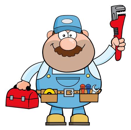 Handyman Cartoon karakter met moersleutel en toolbox. Illustratie geïsoleerd op wit