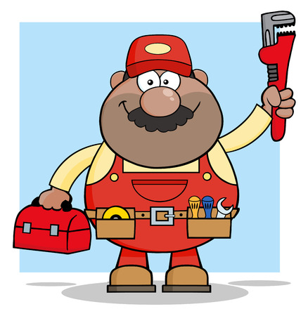 African American Mechanic Cartoon Character With Wrench And Tool Box.  Illustration With Background Vector