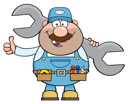 Mechanic Cartoon Character Holding Huge Wrench And Giving A Thumb Up. Illustration Isolated On White