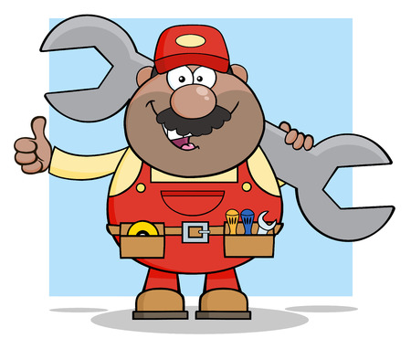 African American Mechanic Cartoon Character Holding Huge Wrench And Giving A Thumb Up.  Illustration With Background