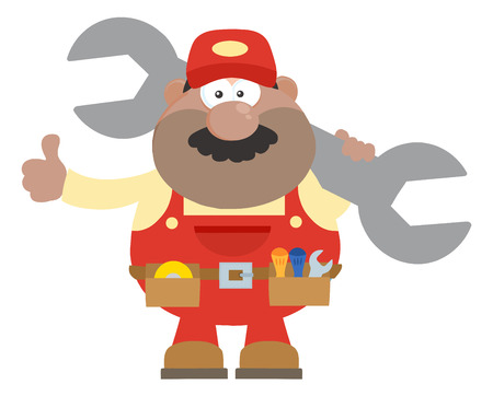 African American Mechanic Cartoon Character Holding Huge Wrench And Giving A Thumb Up Flat Syle. Illustration Isolated On White