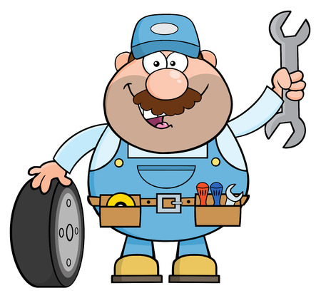 Smiling Mechanic Cartoon Character With Tire And Huge Wrench.  Illustration Isolated On White
