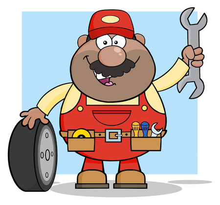 African American Mechanic Cartoon Character With Tire And Huge Wrench. Illustration With Backgroun