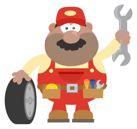 Smiling African American Mechanic Cartoon Character With Tire And Huge Wrench Flat Style. Illustration With Background Ilustrace