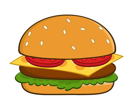 white bread: Hamburger Cartoon Illustration Isolated On White