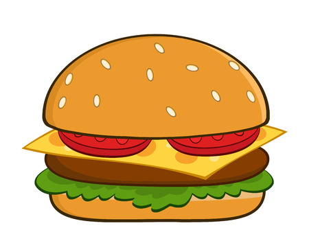 Hamburger Cartoon Illustration Isolated On White