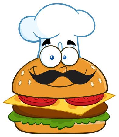 gourmet burger: Smiling Chef Hamburger Cartoon Character.  Illustration Isolated On White