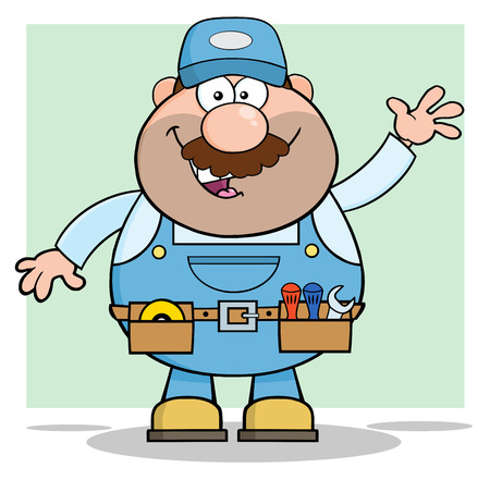 Smiling Mechanic Cartoon Character Waving For Greeting Illustration With Background