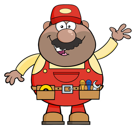 Smiling African American Mechanic Cartoon Character Waving For Greeting. Illustration Isolated On White