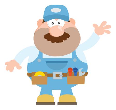 Mechanic Cartoon Character Waving For Greeting Flat Style. Illustration Isolated On White Stock Illustratie