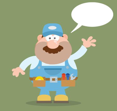 Personaje de dibujos animados mecánico Agitando Para El Saludo plana del estilo. Ilustración con la burbuja del discurso y del Fondo Foto de archivo - 37636755