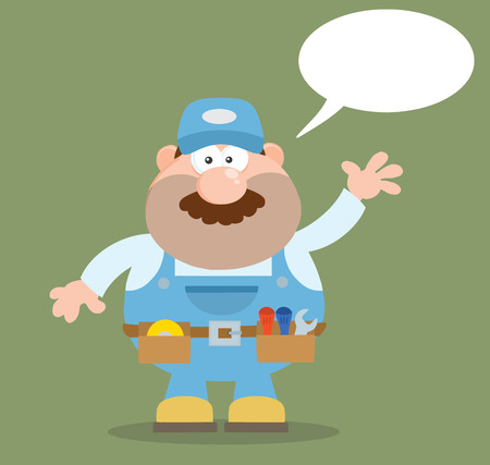 Mechanic Cartoon Character Waving For Greeting Flat Style.  Illustration With Speech Bubble And Background