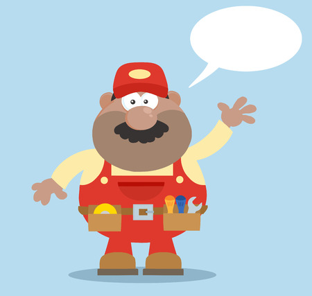 African American Mechanic Cartoon Character Waving For Greeting Flat Style. Illustration With Speech Bubble And Background Vector