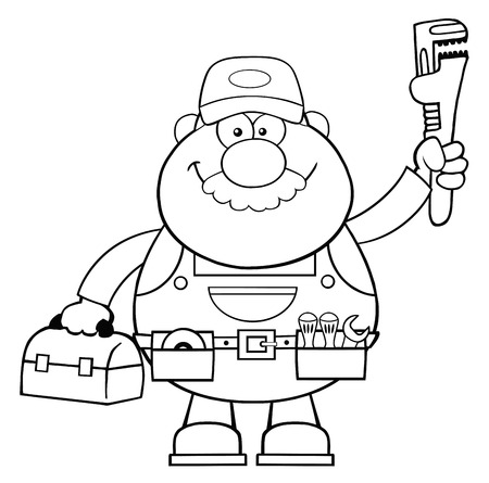 Black And White Mechanic Cartoon Character With Wrench And Tool Box.  Illustration Isolated On White