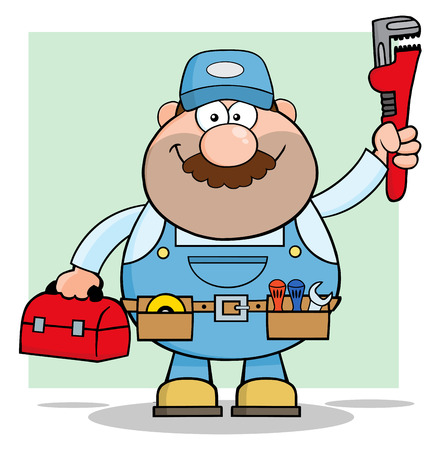 Mechanic Cartoon Character With Wrench And Tool Box.  Illustration With Background Vector