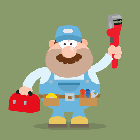 Mechanic Cartoon Character With Wrench And Tool Box Flat Style. Illustration With Background Vector
