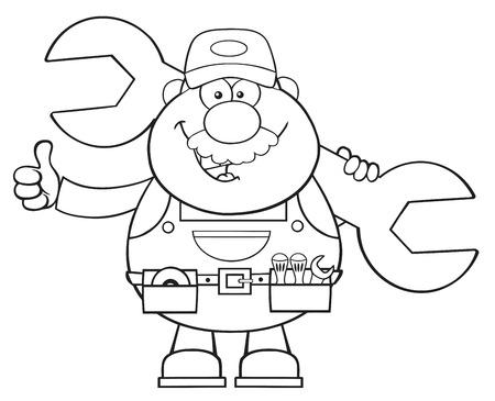 Black And White Mechanic Cartoon Character Holding Huge Wrench And Giving A Thumb Up. Illustration Isolated On White Ilustrace