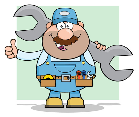 Mechanic Cartoon Character Holding Huge Wrench And Giving A Thumb Up. Illustration With Background Ilustrace
