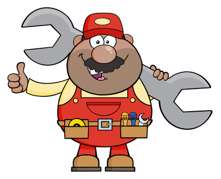 African American Mechanic Cartoon Character Holding Huge Wrench And Giving A Thumb Up. Illustration Isolated On White