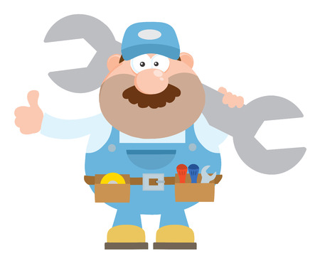 Mechanic Cartoon Character Holding Huge Wrench And Giving A Thumb Up Flat Style. Illustration Isolated On White