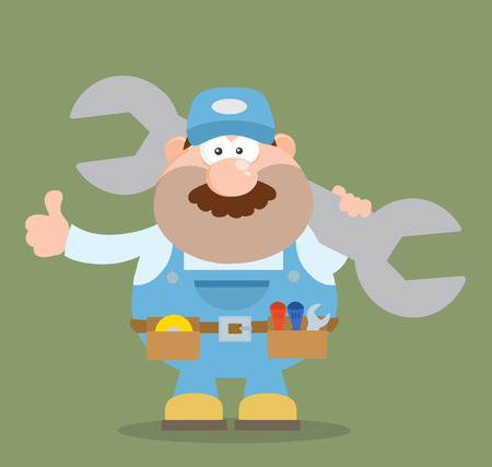 Mechanic Cartoon Character Holding Huge Wrench And Giving A Thumb Up Flat Syle