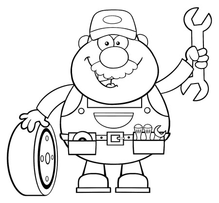 Black And White Smiling Mechanic Cartoon Character With Tire And Huge Wrench. Illustration Isolated On White