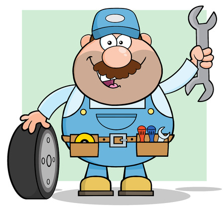 Smiling Mechanic Cartoon Character With Tire And Huge Wrench. Illustration With Background