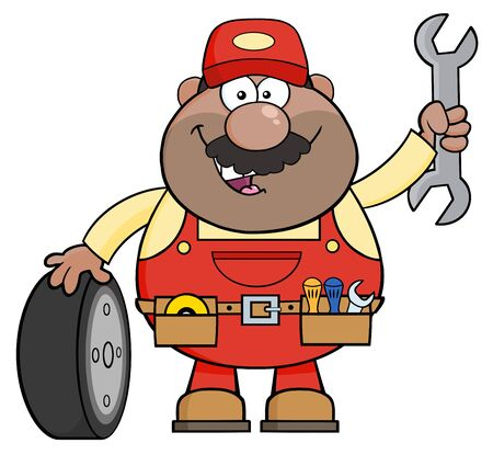 Smiling African American Mechanic Cartoon Character With Tire And Huge Wrench.  Illustration Isolated On White