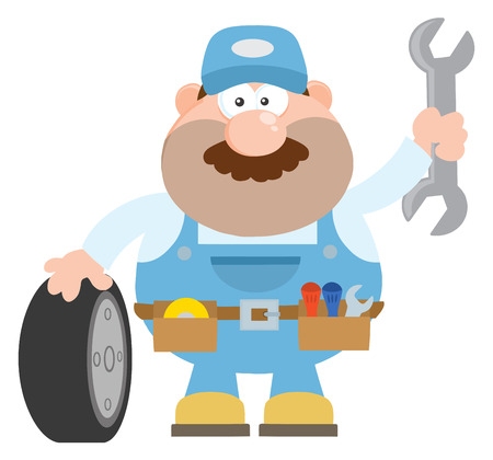 mechanic cartoon: Smiling Mechanic Cartoon Character With Tire And Huge Wrench Flat Style. Illustration Isolated On White