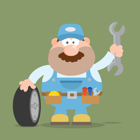 Smiling Mechanic Cartoon Character With Tire And Huge Wrench Flat Style. Illustration With Backgroun