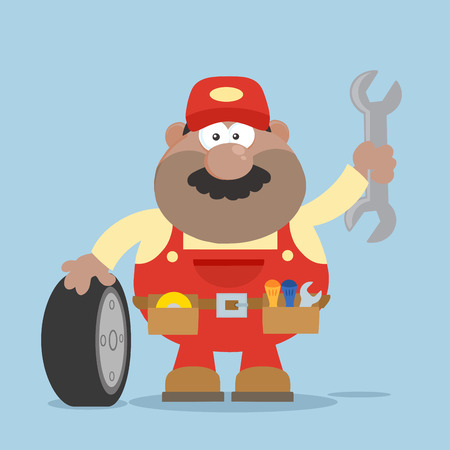 Smiling African American Mechanic Cartoon Character With Tire And Huge Wrench Flat Syle. Illustration Isolated On White