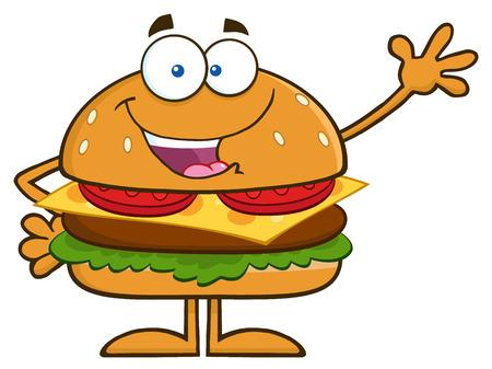 snack cartoon: Happy Hamburger Cartoon Character Waving. Illustration Isolated On White