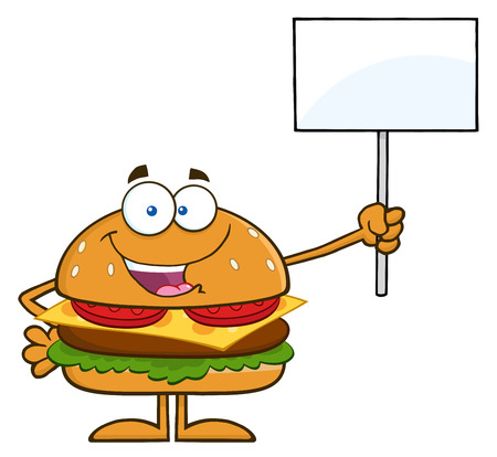 Hamburger Cartoon Character Holding A Blank Sign.  Illustration Isolated On White