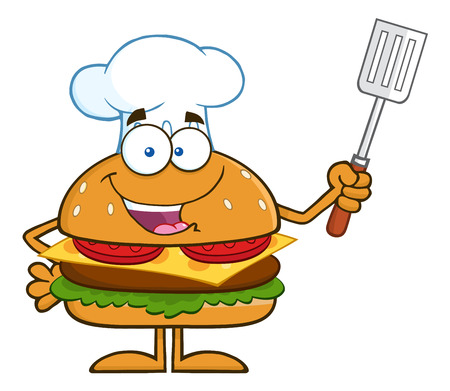 slotted: Chef Hamburger Cartoon Character Holding A Slotted Spatula. Illustration Isolated On White