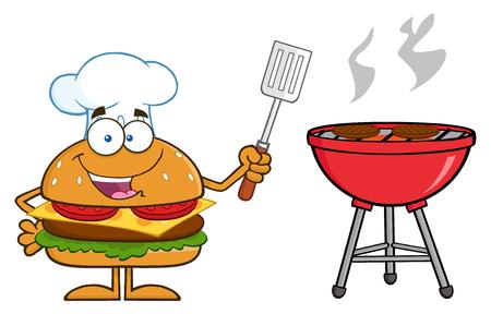 Chef Carácter hamburguesa historieta que sostiene una espátula ranurada Por una barbacoa. Ilustración aislado en blanco Foto de archivo - 37749395