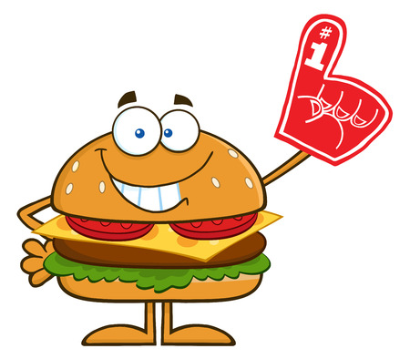 Smiling Hamburger Cartoon Character Showing A Number 1 Foam Finger. Illustration Isolated On White