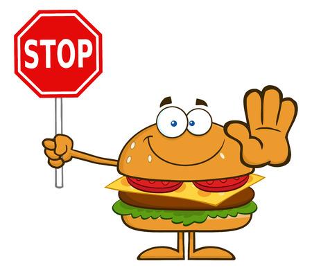 一時停止の標識を保持しているハンバーガーの漫画のキャラクター。白で隔離される図  イラスト・ベクター素材