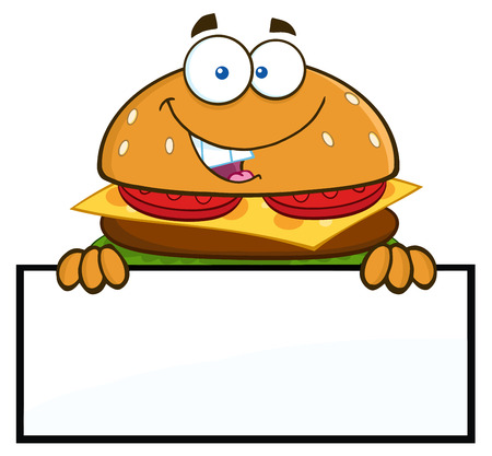 american food: Hamburger Cartoon Character Over A Blank Sign. Illustration Isolated On White