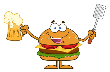 Happy Hamburger Cartoon Character Holding A Beer And Bbq Slotted Spatula. Illustration Isolated On White Ilustrace