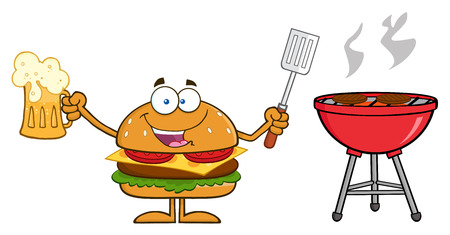 slotted: Happy Hamburger Cartoon Character Holding A Beer And Bbq Slotted Spatula By A Grill. Illustration Isolated On White