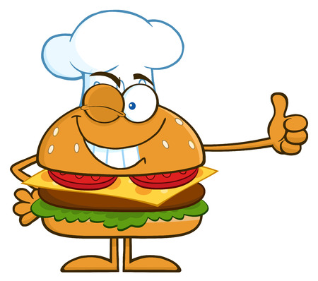 winking: Winking Chef Hamburger Cartoon Character Showing Thumbs Up. Illustration Isolated On White