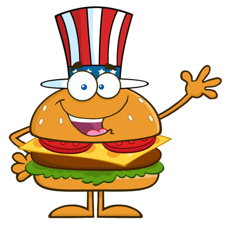 gourmet burger: American Hamburger Cartoon Character With Patriotic Hat Waving. Illustration Isolated On White