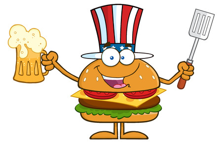 american food: Happy American Hamburger Cartoon Character Holding A Beer And Bbq Slotted Spatula. Illustration Isolated On White Illustration