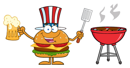 slotted: American Hamburger Cartoon Character Holding A Beer And Bbq Slotted Spatula By A Grill. Illustration Isolated On White